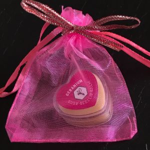 Geranium Lip Balm, Gift Bag, Honey, Natural Beeswax Product