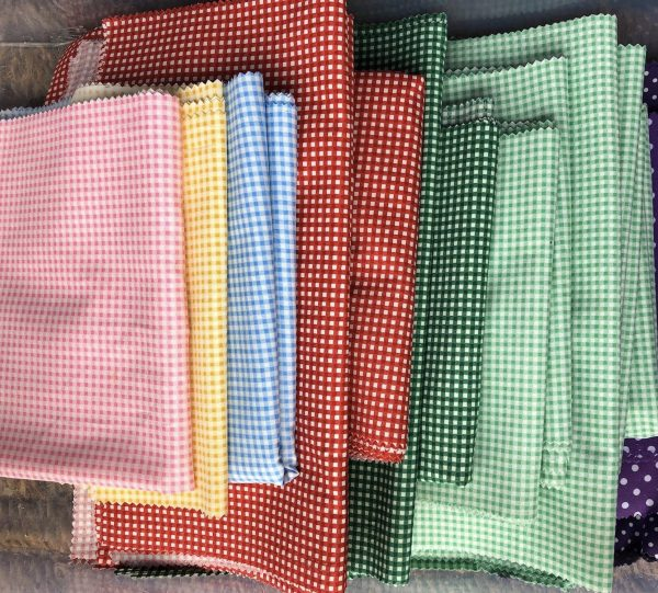 Beeswax Wraps - Mixed Gingham - Yellow, Blue, Green, Pink, Red, Beige