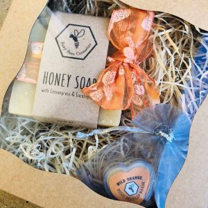Gift Boxes with Honey Soap and Beeswax Lip Balm