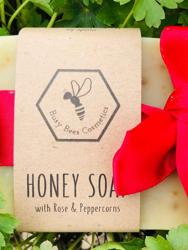 Beeswax & Honey Soap with Pink Peppercorns and Rose & Geranium Essential Oils 90g